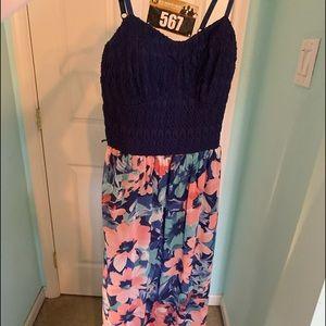 Blue Floral Maxi-Dress